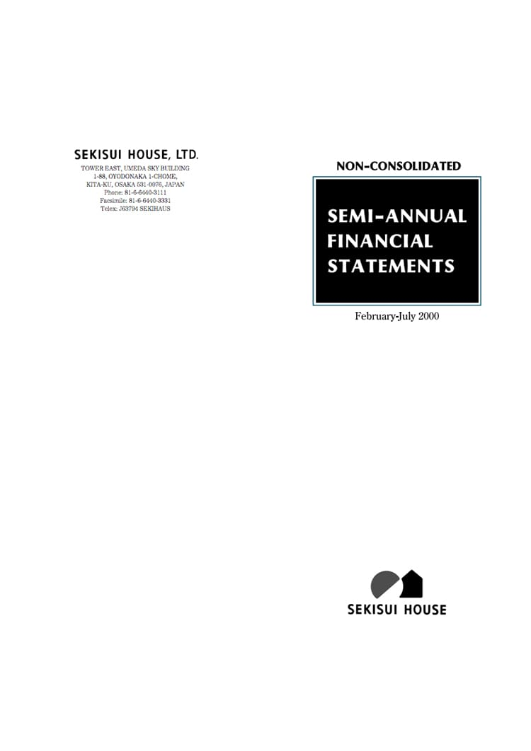 SEMI-ANNUAL FINANCIAL STATEMENTS 2000